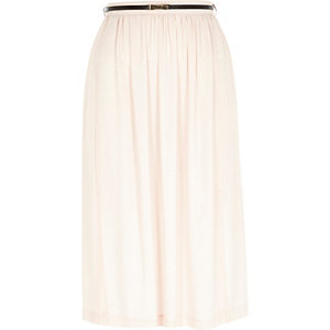 Light pink soft woven belted midi skirt