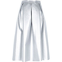 Silver leather-look pleated midi skirt
