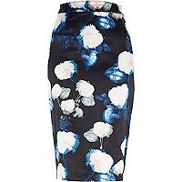 Blue floral print pencil skirt