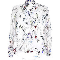 White floral print wrap blouse