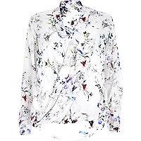 White floral print wrap blouse