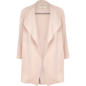 Pink crepe relaxed fit draped jacket