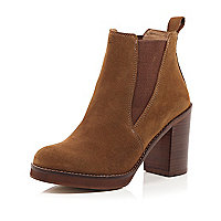 Brown suede Chelsea block heel ankle boots