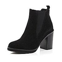 Black suede Chelsea block heel ankle boots