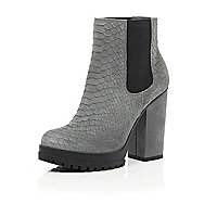 Grey leather snake print ankle boots
