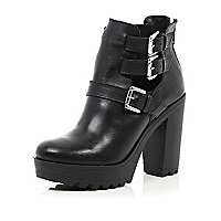 Black leather chunky buckle cut out boots