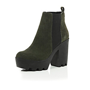 Khaki suede chunky platform Chelsea boots