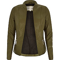 Khaki leather-look fitted jacket