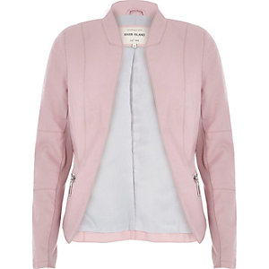 Pale pink leather-look fitted jacket