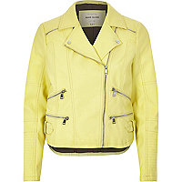 Light yellow leather-look zip biker jacket