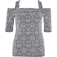Grey jacquard print strappy bardot top