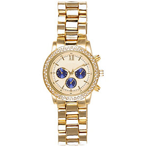 Gold tone blue dial oversized watch
