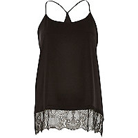 Black lace hem cami top