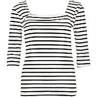White stripe jersey square neck top
