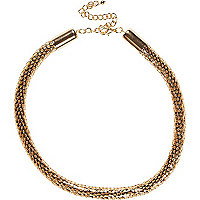 Gold tone tube necklace