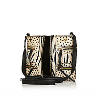 Black leather animal cross body bag