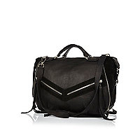 Black leather zip and tassel bowler bag