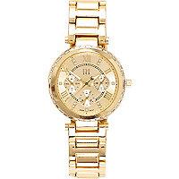 Gold tone baguette gem watch
