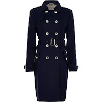 Navy long sleeve traditional trench coat