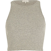 Grey ribbed racer crop top