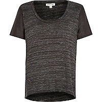Grey metallic leather-look sleeve t-shirt