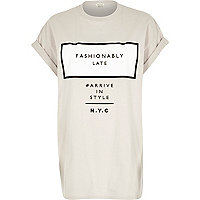Grey fashionably late oversized t-shirt