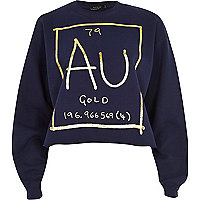 Navy gold element print sweatshirt