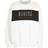 White beauté print sweatshirt