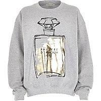 Grey metallic perfume print sweatshirt