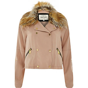Light pink faux fur collar casual jacket