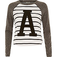 Grey stripe applique raglan sleeve top