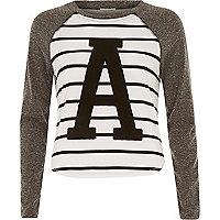 Grey stripe applique raglan sleeve top