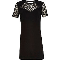 Black crepe lace insert dress