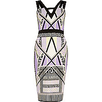 Purple geometric print bodycon dress