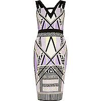 Purple geometric print bodycon dress