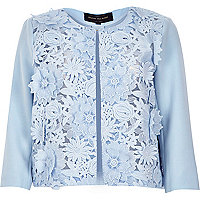Cornflower blue lace cropped boxy jacket