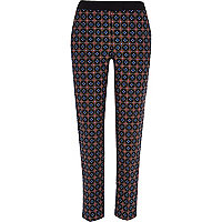 Black tile print tailored cigarette pants