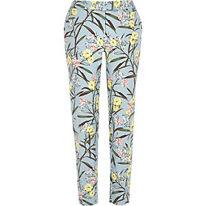 Blue floral print smart cigarette pants