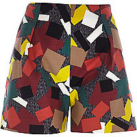 Green abstract print high waist shorts