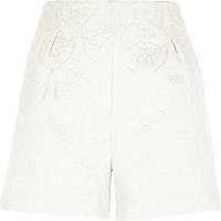 White lurex jacquard high waisted shorts