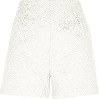 White lurex jacquard high waisted shorts