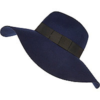 Navy oversized fedora hat