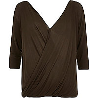 Green 3/4 sleeve drape front top