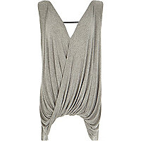 Light grey draped sleeveless top