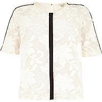 Cream lace black trim t-shirt