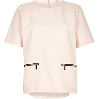 Light pink zip trim top