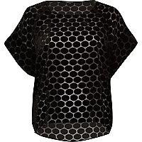 Black velvet spot print top