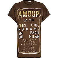 Khaki gold amour print oversized t-shirt