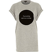 Grey expect nothing print oversized t-shirt