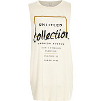 Beige untitled collection longline tank top